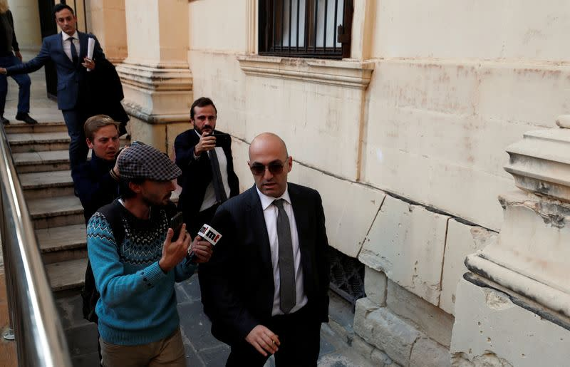 Maltese businessman Yorgen Fenech, who was arrested in connection with an investigation into the murder of journalist Daphne Caruana Galizia, speaks to media outside the Courts of Justice in Valletta