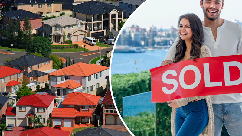 Pictured: Australian property and couple with SOLD house sign. Images: Getty