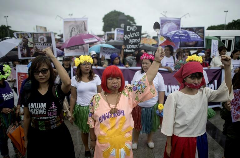 The march comes after a collective of women launched a #Metoo-style campaign that takes aim at Duterte's attitude towards women