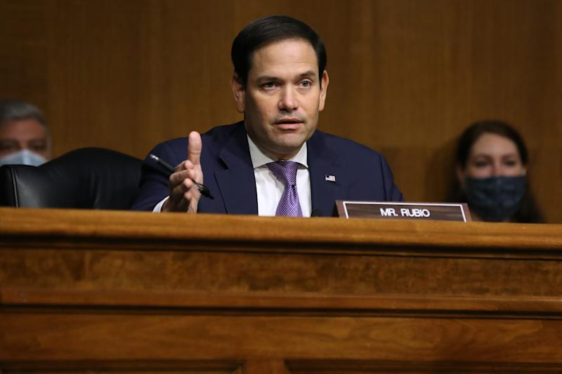 Senate Foreign Relations Committee member Sen. Marco Rubio (R-FL) questions witnesses during a hearing about Venezuela in the Dirksen Senate Office Building on Capitol Hill August 04, 2020 in Washington, DC. (Chip Somodevilla/Getty Images)