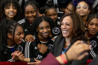 Vice President Kamala Harris greets members of the Detroit Youth Choir at a vaccine mobilization event at the TCF Center in Detroit, Monday, July 12, 2021. (AP Photo/Andrew Harnik)