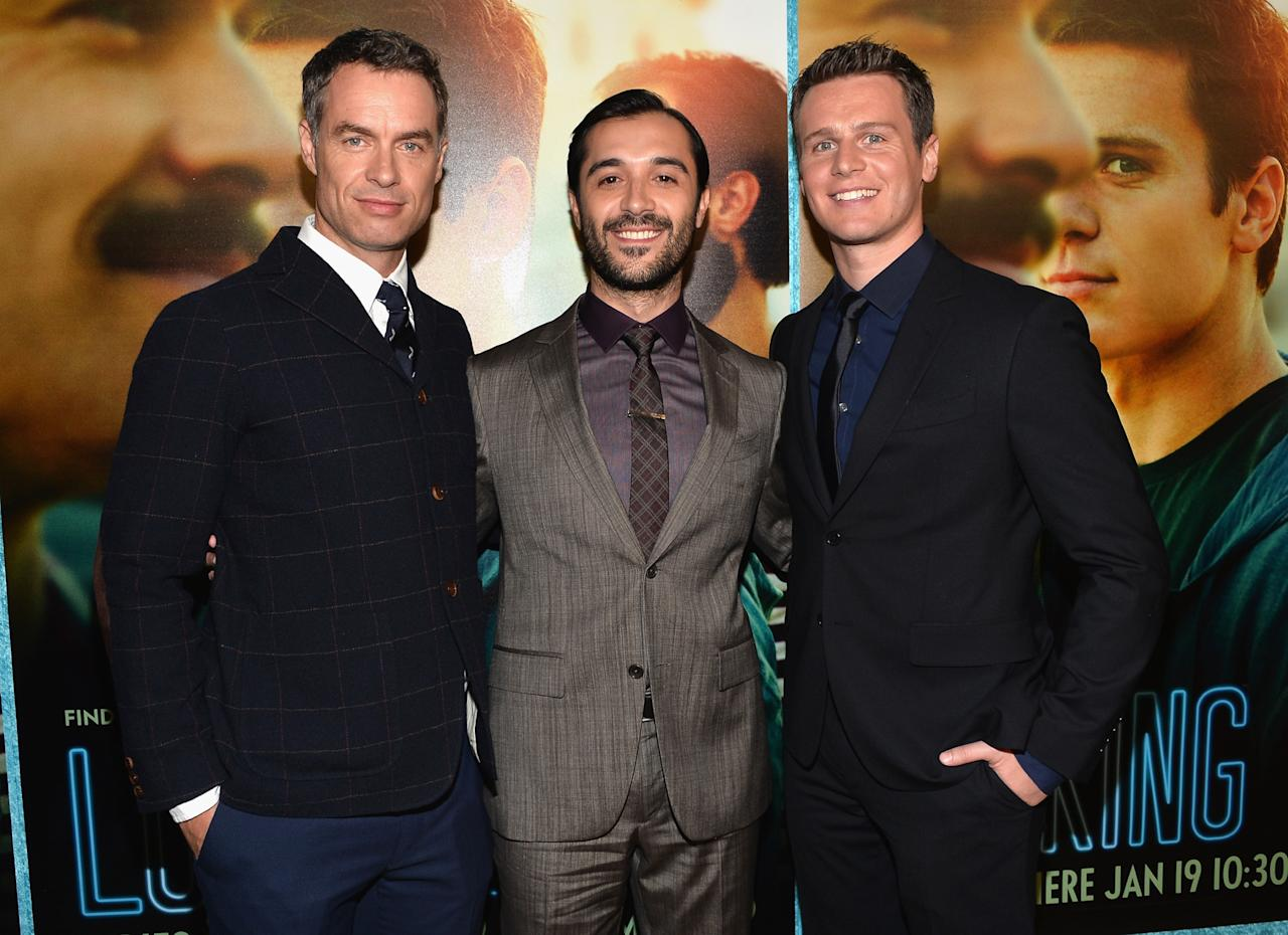 """HOLLYWOOD, CA - JANUARY 15: Actors Murray Bartlett, Frankie J. Alvarez and Jonathan Groff arrive to the premiere of HBO's """"Looking"""" at Paramount Theater on the Paramount Studios lot on January 15, 2014 in Hollywood, California. (Photo by Alberto E. Rodriguez/Getty Images)"""