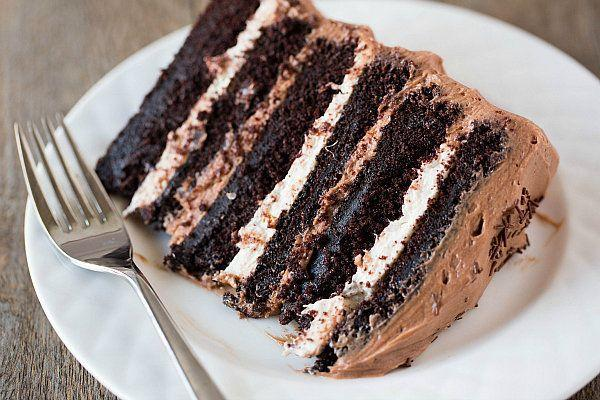 """<strong>Get the<a href=""""http://www.browneyedbaker.com/2013/03/25/six-layer-chocolate-cake-with-toasted-marshmallow-filling-malted-chocolate-frosting/"""" target=""""_blank"""" data-beacon-parsed=""""true"""">Six-Layer Chocolate Cake with Toasted Marshmallow Filling & Malted Chocolate Frosting recipe</a>from Brown Eyed Baker</strong>"""