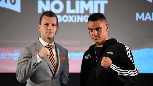 Jeff Horn (l) and Tim Tszyu will have to wait to battle in the ring after their bout was postponed