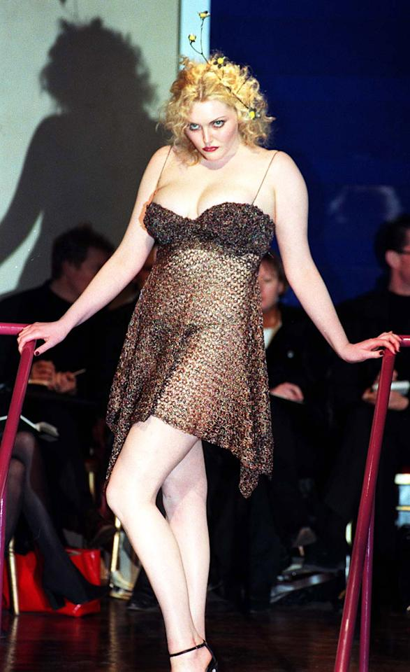 <p>1997 was the middle of the 'heroin chic' moment (or crisis) pioneered by Kate Moss. So it was a real shock when a six-foot and 'normal-sized' Sophie Dahl modelled a revealing look at London Fashion Week. <i>[Photo: PA]</i> </p>