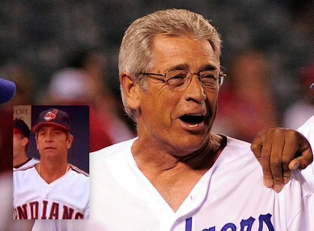 """Steve Yeager shown in 2011 with the Dodgers and in the movie """"Major League."""" (AP)"""