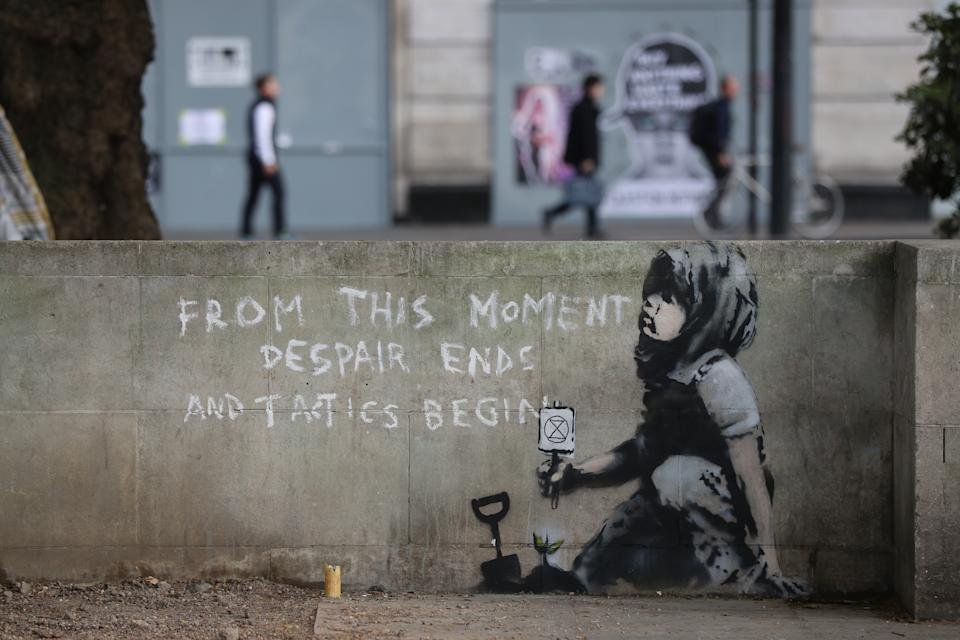 An artwork which appears to be by street artist Banksy has appeared near the former location of the Extinction Rebellion camp in Marble Arch, London.