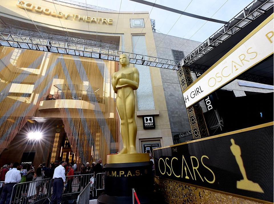 HOLLYWOOD, CA - FEBRUARY 26: An Oscar statue is seen as preparations continue for the 88th Annual Academy Awards at Hollywood & Highland Center on February 26, 2016 in Hollywood, California. (Photo by Kevin Mazur/WireImage)