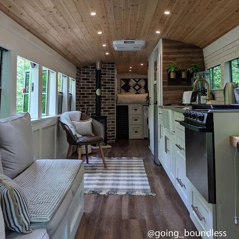 The married couple behind @Going_Boundless on Instagram spent over a year decking out the interior of their Craigslist-found school bus.