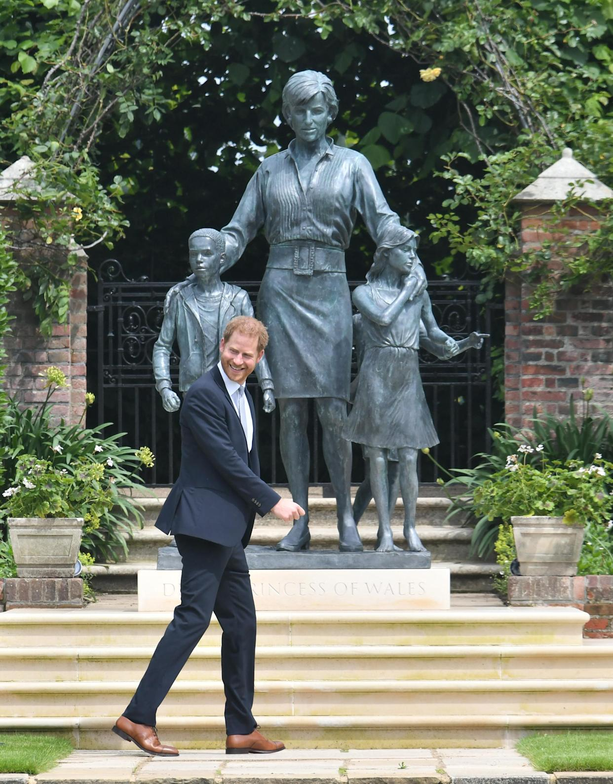 The Duke of Sussex after the unveiling a statue commissioned of his mother Diana, Princess of Wales, in the Sunken Garden at Kensington Palace, London, on what would have been her 60th birthday. Picture date: Thursday July 1, 2021.