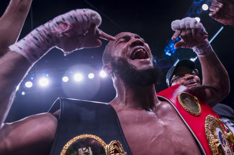 FAIRFAX, VA - MAY 10: Julian Williams celebrates after beating Jarrett Hurd in their IBF, WBA, and IBO world super welterweight championship bout at EagleBank Arena on May 11, 2019 in Fairfax, Virginia. (Photo by Scott Taetsch/Getty Images)