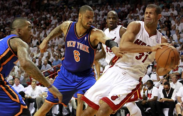 MIAMI, FL - MAY 09: Center Tyson Chandler #6 of the New York Knicks has the ball stolen by Forward Shane Battier #31 of the Miami Heat in Game Five of the Eastern Conference Quarterfinals in the 2012 NBA Playoffs on May 9, 2012 at the American Airines Arena in Miami, Florida. NOTE TO USER: User expressly acknowledges and agrees that, by downloading and or using this photograph, User is consenting to the terms and conditions of the Getty Images License Agreement. (Photo by Marc Serota/Getty Images)