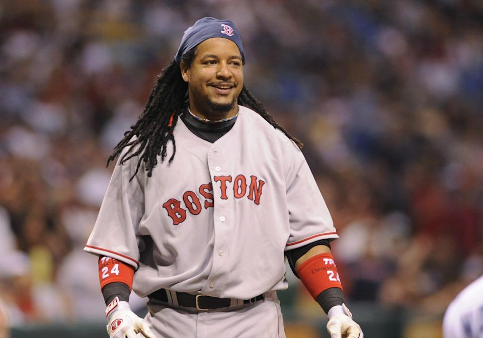 On July 31, 2008, Manny Ramirez was traded to the Los Angeles Dodgers in a three-team, six player deal. (Photo by Al Messerschmidt/Getty Images)