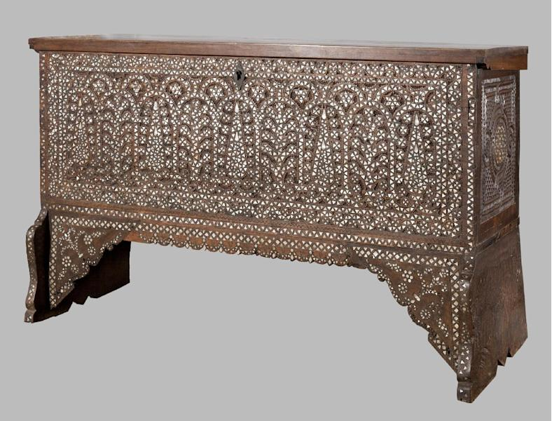 """In this 2001 photo provided by the Museum of Arts and Design, an eighteenth century Syrian chest made from wood with mother-of-pearl, and metal fill is shown. The item is among the artifacts from the estate of the of the late philanthropist and art collector Doris Duke that are featured in an exhibit entitled """"Doris Duke's Shangri La: Architecture, Landscape and Islamic Art,"""" at the Museum of Arts and Design in New York. The exhibit runs through Jan. 6, 2013. (AP Photo/Museum of Arts and Design, Doris Duke Foundation for Islamic Art, David Franzen)"""