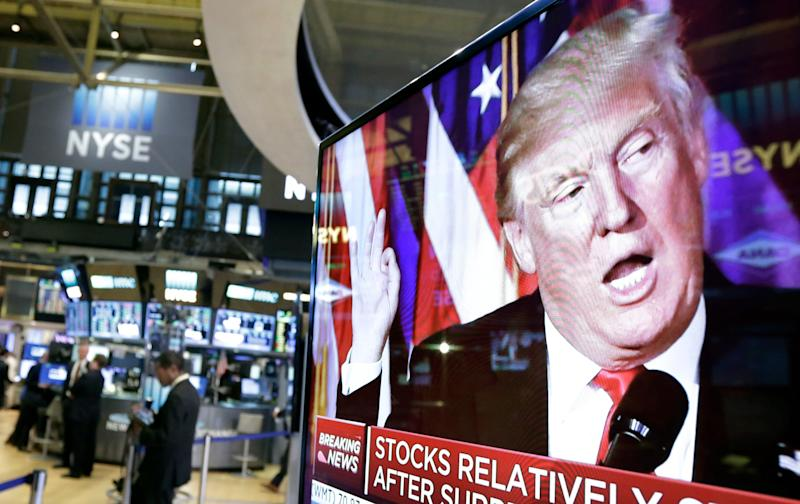Donald Trump on a television screen at the New York Stock Exchange.