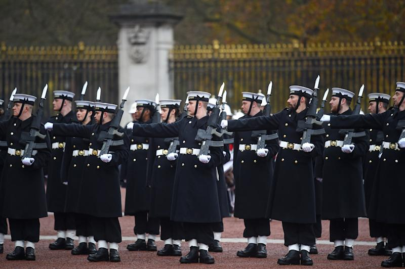 Sailors from the Royal Navy perform the Changing of the Guard ceremony at Buckingham Palace, London, for the second time in its 357-year history. (Photo by Kirsty O'Connor/PA Images via Getty Images)