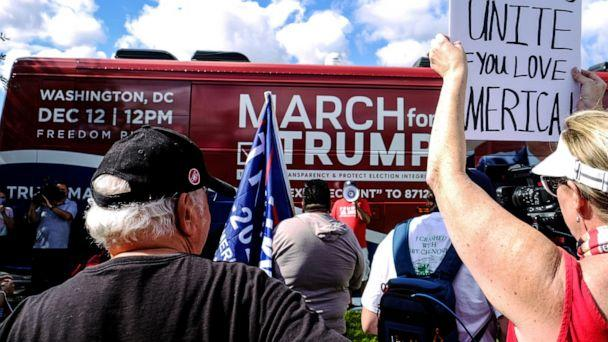 PHOTO: In this Nov. 29, 2020, file photo, March for Trump bus tour kicks-off at Doral Central Park for a two week multi-state rally in support of President Donald Trump, in Doral, Fla. (Maria Alejandra Cardona/Reuters, FILE)