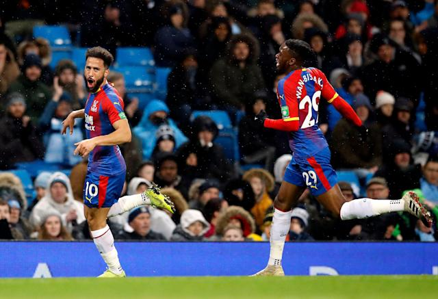 "Surely Andros Townsend (left) and <a class=""link rapid-noclick-resp"" href=""/soccer/teams/crystal-palace/"" data-ylk=""slk:Crystal Palace"">Crystal Palace</a> won't nick a result off Manchester City again, right? Right? (Associated Press)"