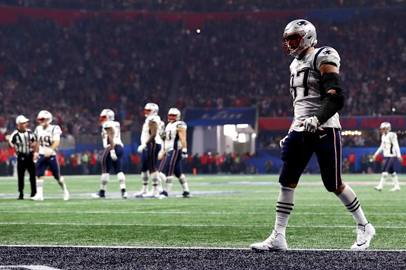 ATLANTA, GEORGIA - FEBRUARY 03: Rob Gronkowski #87 of the New England Patriots in the end zone during Super Bowl LIII against the Los Angeles Rams at Mercedes-Benz Stadium on February 03, 2019 in Atlanta, Georgia. (Photo by Maddie Meyer/Getty Images)