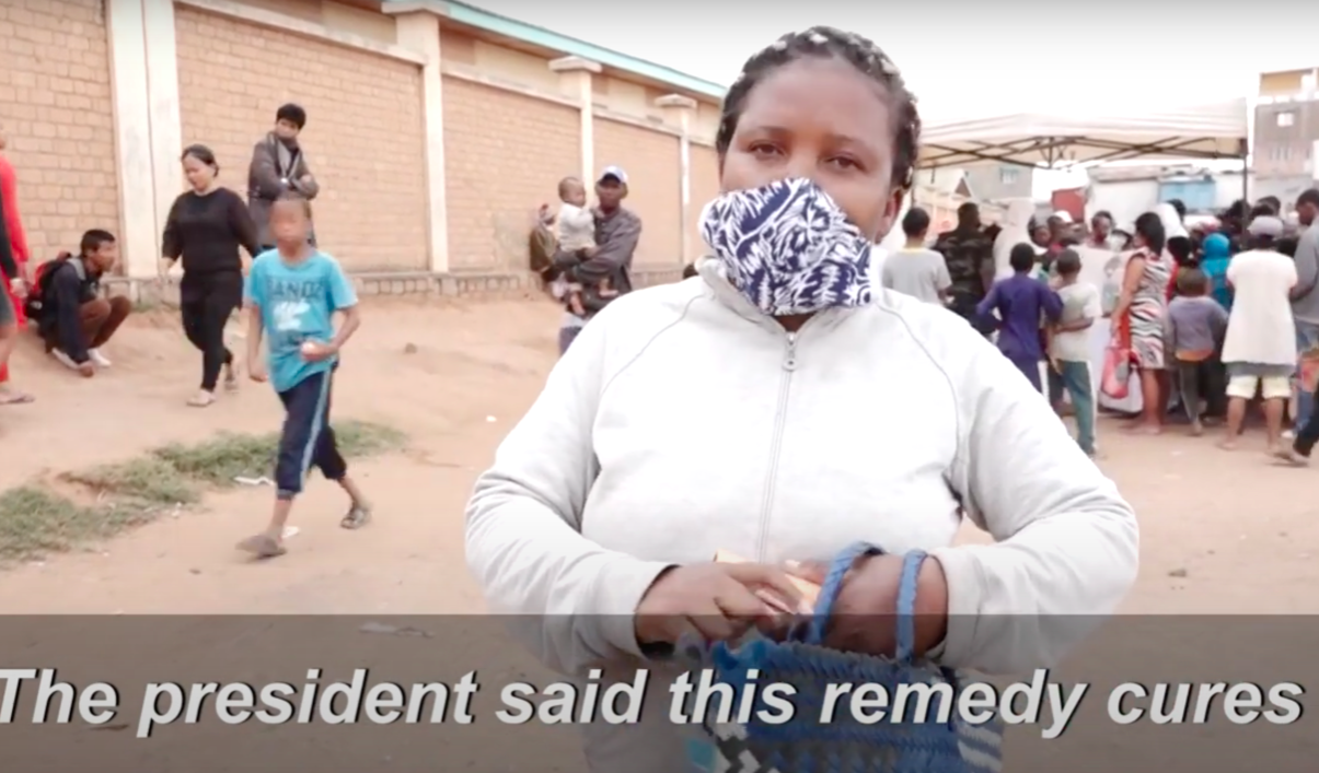 A woman in Madagascar said she was drinking the tea after advice from the president. (YouTube/AFP)