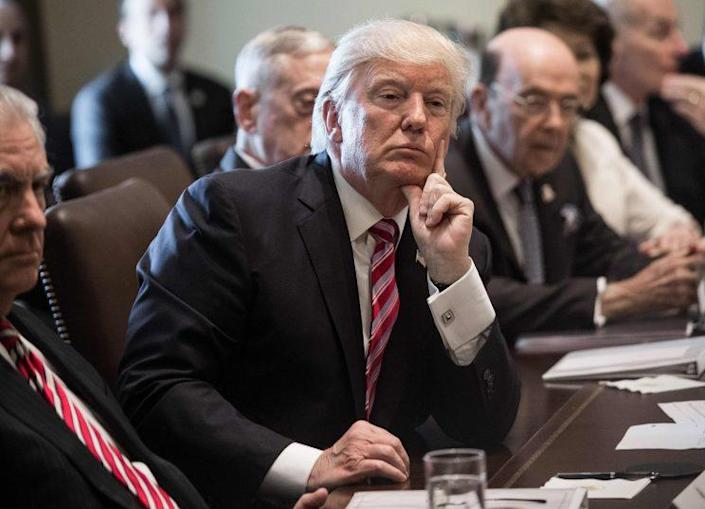 President Trump during a Cabinet meeting at the White House on Monday. (Photo: Nicholas Kamm/AFP/Getty Images)