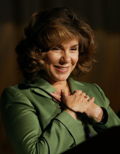 FILE - In this Sunday, Oct. 17, 2004 file photo, Teresa Heinz Kerry covers her heart after speaking at the United Jewish Communities 2004 International Lion of Judah Conference, in Washington. A hospital spokesman says Teresa Heinz Kerry, the wife of U.S. Secretary of State John Kerry, is hospitalized Sunday, July 7, 2013 in critical but stable condition in a hospital on the island of Nantucket, Mass. (AP Photo/Pablo Martinez Monsivais, File)
