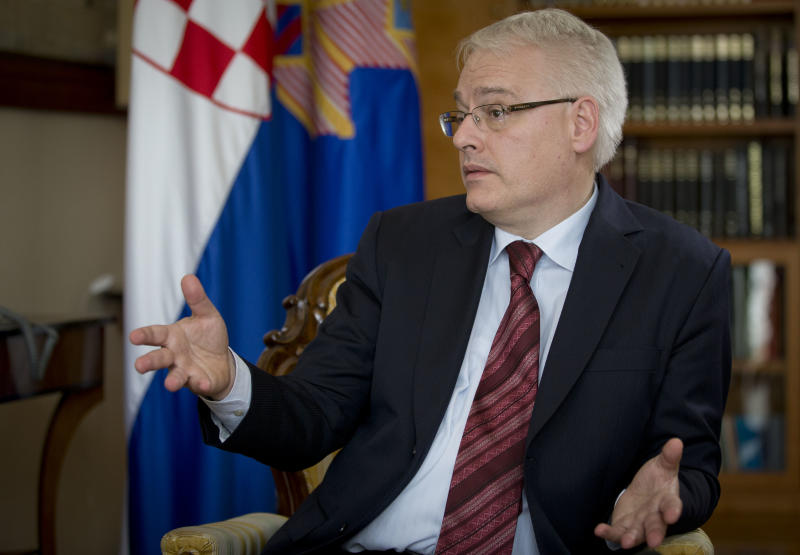 Croatia's President Ivo Josipovic talks during an interview with The Associated Press, at his office in Zagreb, Croatia, Friday, June 28, 2013. Croatia is to join the European Union on July 1, 2013. (AP Photo/Darko Bandic)