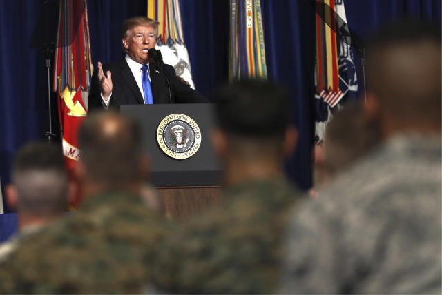 President Trump speaks at Fort Myer in Arlington Va., Monday, Aug. 21, 2017, outlining thestrategy he believes will best position the U.S. to eventually declare victory in Afghanistan. (Photo: Carolyn Kaster/AP)