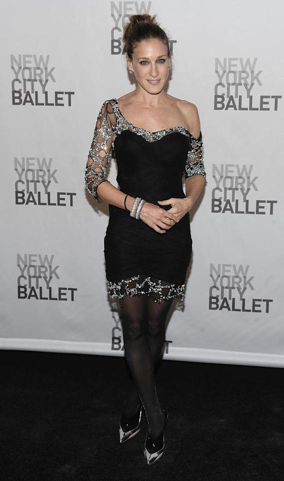 """The holidays are a popular time for the arts. Unfortunately, Sarah Jessica Parker looked like she belonged at the Ice Capades rather than the New York City Ballet's opening night celebration. Dimitrios Kambouris/<a href=""""http://www.wireimage.com"""" target=""""new"""">WireImage.com</a> - November 25, 2008"""