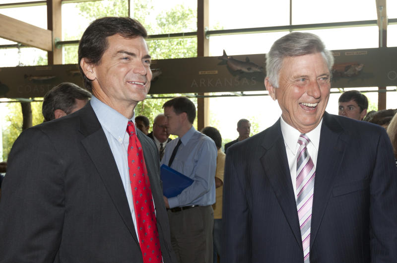 Arkansas Gov. Mike Beebe, right, and Ford Overton attend a news conference at the Witt Stephens Jr. Central Arkansas Nature Center in Little Rock, Ark., before Beebe's appointment of Overton the the Game and Fish Commission Thursday, July12, 2012. (AP Photo/Danny Johnston)