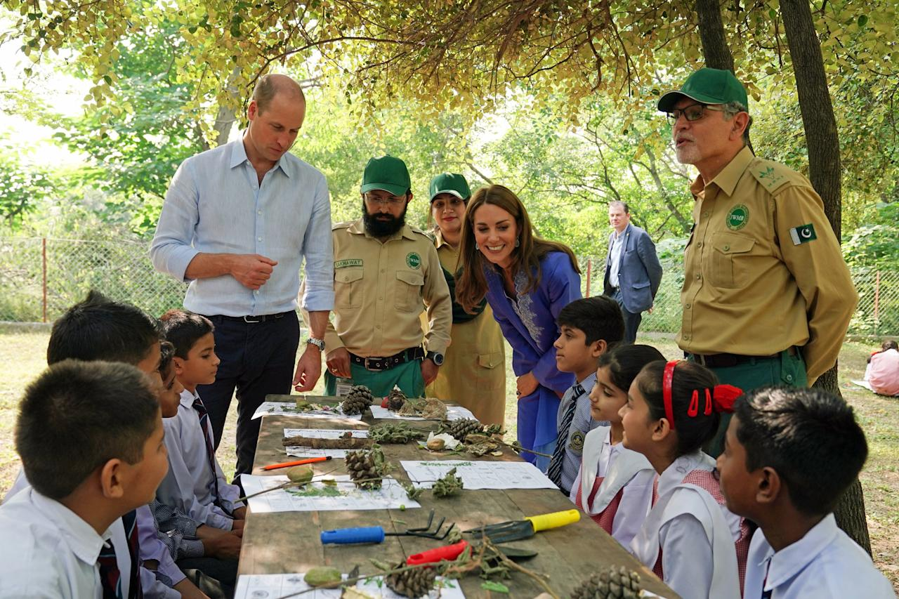 "The day after their arrival, the Duke and Duchess met with children from three local schools at Margalla Hills National Park, learning more about what the pupils are doing to help Pakistan meet its sustainable development goals. Established in 1980, the 67.13-square-mile park is known for its rich Sino-Himalayan fauna, and boasts a diverse 600 plant species, 250 bird varieties, 38 mammals, and 13 reptile species. The stop was no doubt of great interest to the Duchess, who unveiled her own <a href=""https://www.architecturaldigest.com/story/inside-the-garden-duchess-kate-designed-for-the-chelsea-flower-show?mbid=synd_yahoo_rss"">""Back to Nature"" garden</a> at the Chelsea Flower show and then at Wisley Gardens in Surrey earlier this fall."