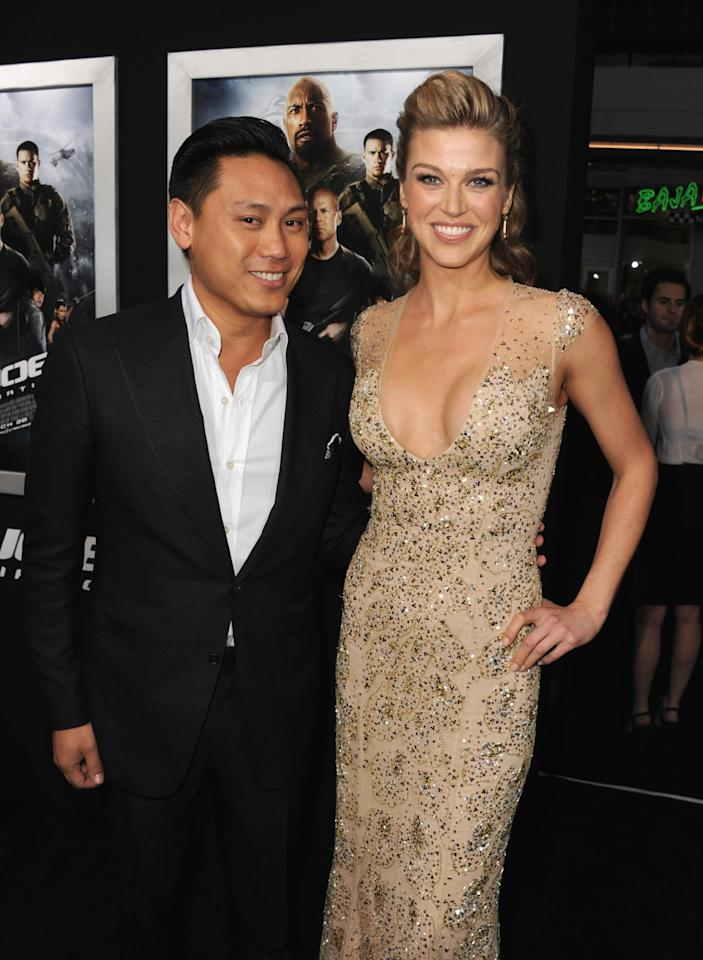 "HOLLYWOOD, CA - MARCH 28:  Director Jon M. Chu and actress Adrianne Palicki attend the premiere of Paramount Pictures' ""G.I. Joe:Retaliation"" at TCL Chinese Theatre on March 28, 2013 in Hollywood, California.  (Photo by Kevin Winter/Getty Images)"