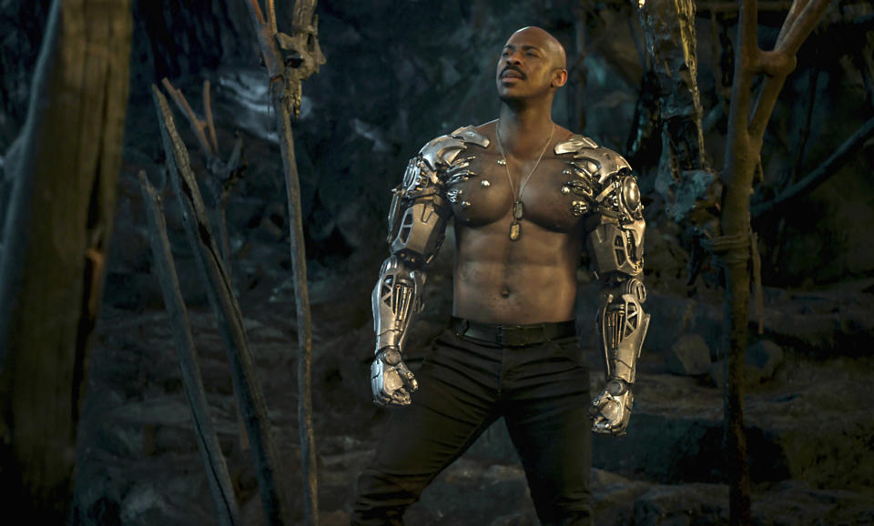"This image released by Warner Bros. Pictures shows Mehcad Brooks in a scene from ""Mortal Kombat."" (Warner Bros. Pictures via AP)"