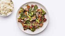 """A riff on Chinese American sesame chicken, this recipe is super sesame-y from the sauce up: Tahini (an untraditional but logical addition) adds richness, and sesame oil and toasted sesame seeds hit the flavor home. <a href=""""https://www.bonappetit.com/recipe/sesame-tofu-with-broccoli?mbid=synd_yahoo_rss"""" rel=""""nofollow noopener"""" target=""""_blank"""" data-ylk=""""slk:See recipe."""" class=""""link rapid-noclick-resp"""">See recipe.</a>"""