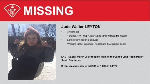 Jude Leyton, photographed here in an OPP news release, was last seen at about 11 a.m., on March 28 in the Canoe Lake Road area of South Frontenac. (OPP - image credit)