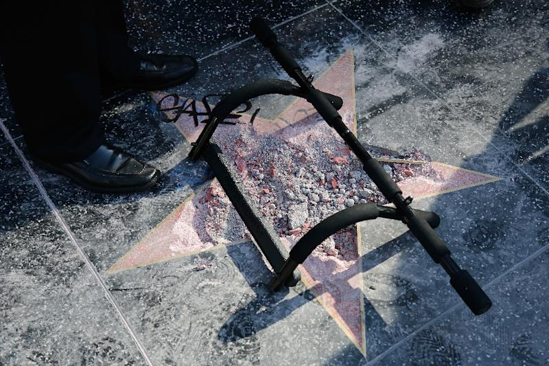 The remains on Donald Trump's star on the Hollywood Walk of Fame after it was vandalized in July