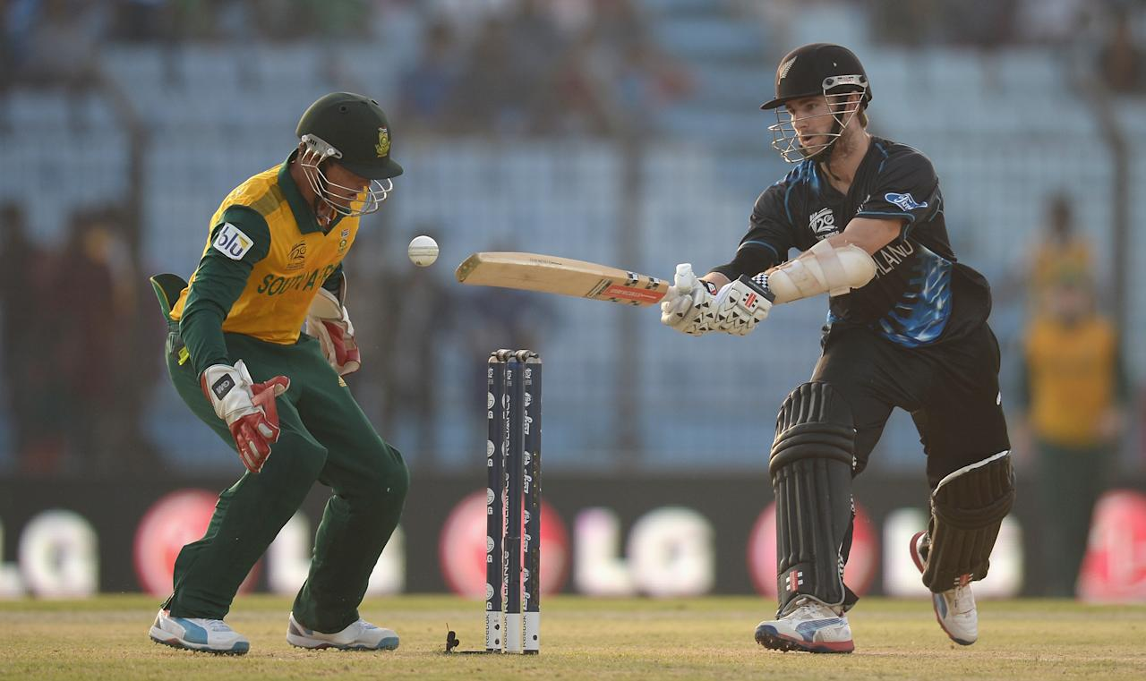 CHITTAGONG, BANGLADESH - MARCH 24:  Kane Williamson of New Zealand bats during the ICC World Twenty20 Bangladesh 2014 Group 1 match between New Zealand and South Africa at Zahur Ahmed Chowdhury Stadium on March 24, 2014 in Chittagong, Bangladesh.  (Photo by Gareth Copley/Getty Images)