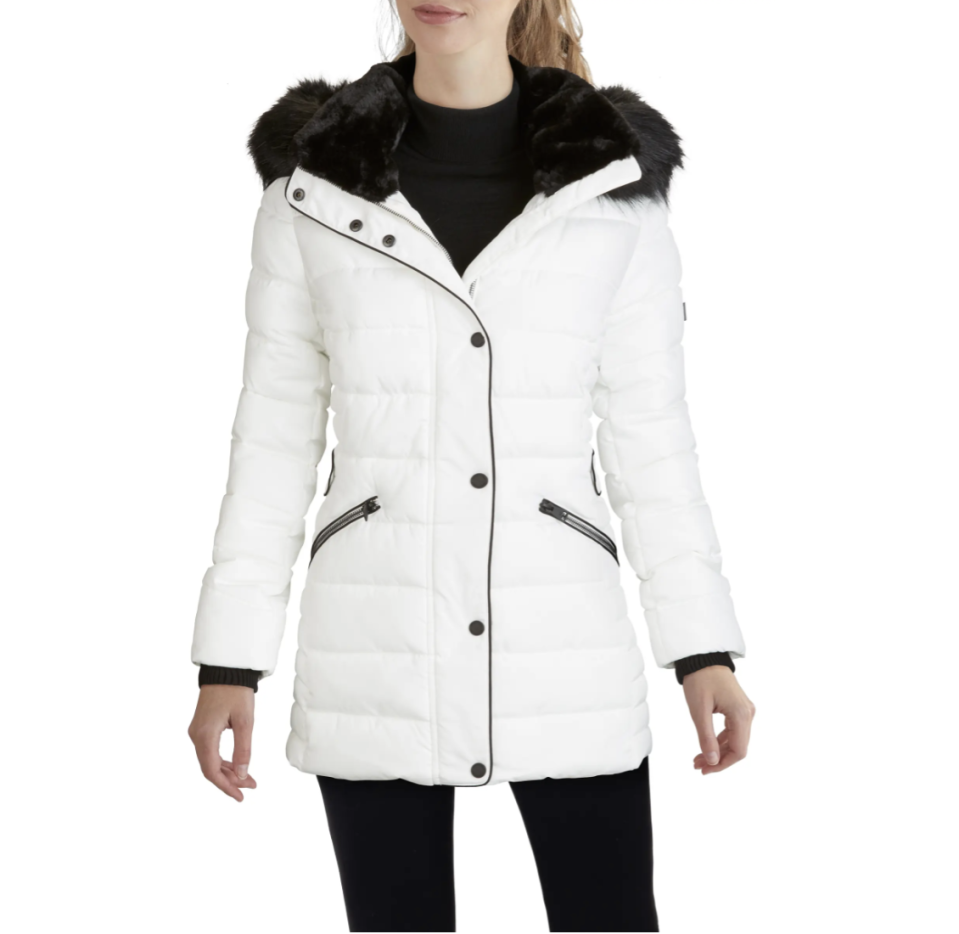 Kenneth Cole New York Hooded Puffer Coat with Faux Fur Trim - $100 (originally $148).