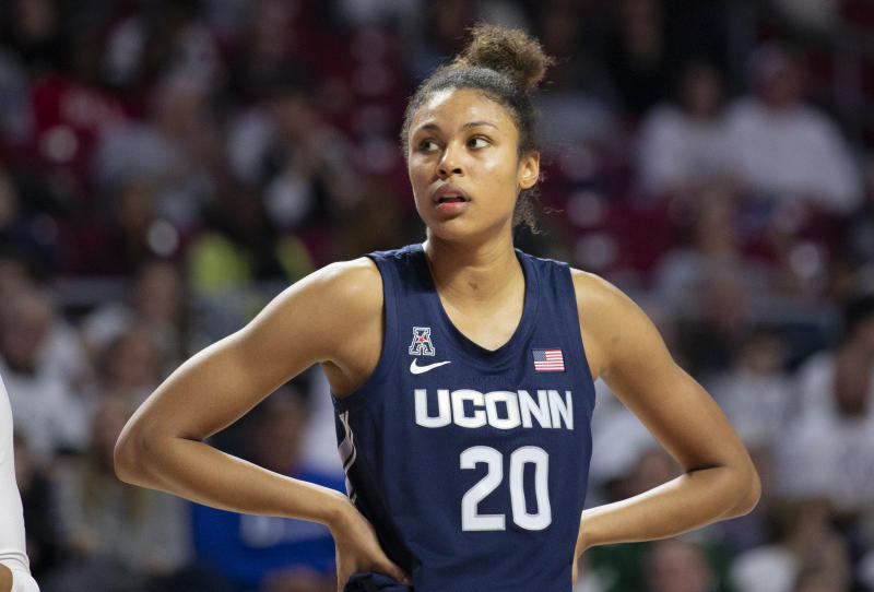 Connecticut forward Olivia Nelson-Ododa leads the No. 4 Huskies. (AP Photo/Laurence Kesterson)