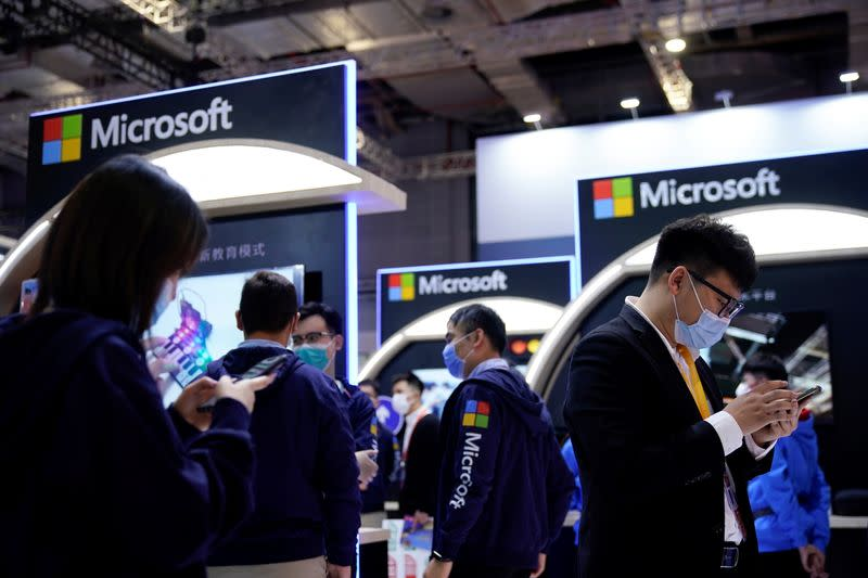 FILE PHOTO: Microsoft signs are seen at the third China International Import Expo (CIIE) in Shanghai