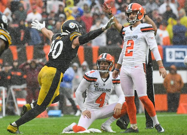 Steelers linebacker T.J. Watt celebrates a blocked field goal in overtime against the Browns. The season opener between the AFC North rivals ended in a draw. (Getty Images)