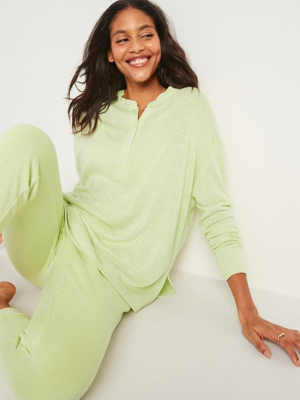 <p>If you pair this <span>Old Navy Oversized Double-Knit Crepe Henley Lounge Top</span> ($20, originally $25) with jeans when you need to leave the house, it will be your secret that you're still wearing pajamas.</p>