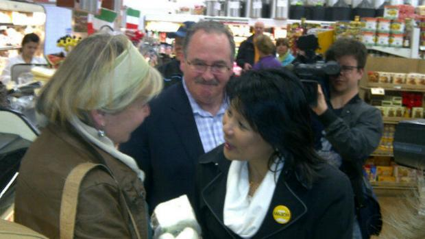 Alberta NDP Leader Brian Mason campaigned in Edmonton with federal NDP MP Olivia Chow on Saturday.