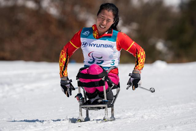 Yawei Jin CHN competes during the Cross-Country Skiing sitting Women's 12km at the Alpensia Biathlon Center. The Paralympic Winter Games, PyeongChang, South Korea, Sunday 11th March 2018. OIS/IOC/Bob Martin/Handout via Reuters