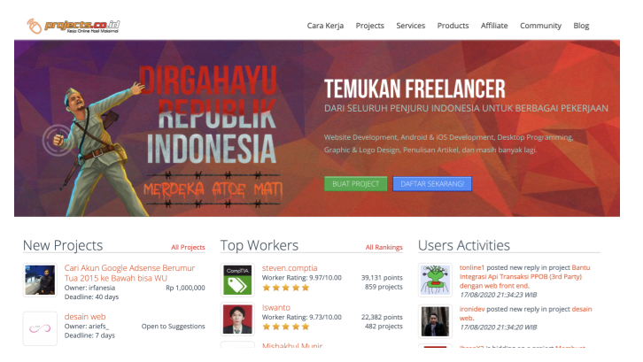 Situs freelance Projects.co.id (Sumber: Projects.co.id)