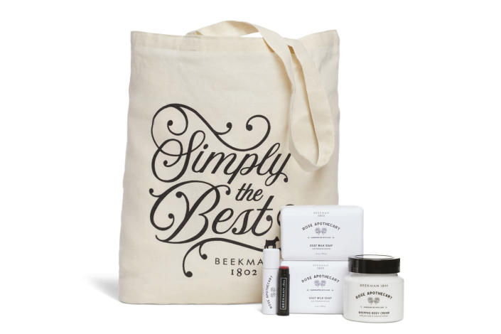 """<p><em>Schitt's Creek</em> fans rejoice! Send yourself your best wishes and warmest regards and remind yourself who's really """"simply the best"""" by gifting yourself this David Rose-approved gift bundle from Beekman 1801. You'll get a tote, two bar soaps, one body cream, and one tinted lip balm, and they'll all smell like roses, naturally. We love this journey for you! </p> <p><strong>Buy It! </strong>Simply the Best Tote Bundle, $75; <a href=""""https://beekman1802.com/collections/rose-apothecary/products/simply-the-best-tote-bundle"""" rel=""""sponsored noopener"""" target=""""_blank"""" data-ylk=""""slk:beekman1802.com"""" class=""""link rapid-noclick-resp"""">beekman1802.com</a></p>"""