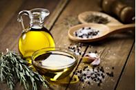 """<p>One of the <a href=""""https://www.goodhousekeeping.com/health/diet-nutrition/g32108013/healthiest-cooking-oils/"""" rel=""""nofollow noopener"""" target=""""_blank"""" data-ylk=""""slk:healthiest oils"""" class=""""link rapid-noclick-resp"""">healthiest oils</a> you can buy, olive oil is made from the fruit of an olive tree and contains monounsaturated fatty acids that can reduce your risk of heart disease. It's a great substitute for vegetable oil if you're sautéing or making something savory like a <a href=""""https://www.goodhousekeeping.com/food-products/g32188673/best-salad-dressing/"""" rel=""""nofollow noopener"""" target=""""_blank"""" data-ylk=""""slk:salad dressing"""" class=""""link rapid-noclick-resp"""">salad dressing</a> or marinade, but would be best to avoid in baking due to its strong flavor. <br></p><p><strong>RELATED: </strong><a href=""""https://www.goodhousekeeping.com/food-products/g4846/top-olive-oil-reviews/"""" rel=""""nofollow noopener"""" target=""""_blank"""" data-ylk=""""slk:The Best Olive Oils for Pasta, Salads, and Everything Else"""" class=""""link rapid-noclick-resp"""">The Best Olive Oils for Pasta, Salads, and Everything Else</a></p>"""