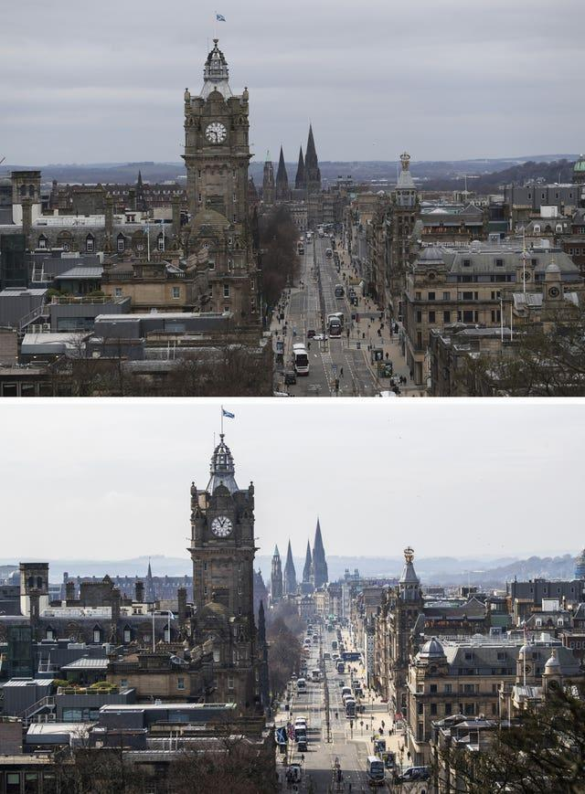 Composite of photos of Princes Street, Edinburgh, taken today (top) and the same view on 24/03/20 (bottom), the day after Prime Minister Boris Johnson put the UK in lockdown