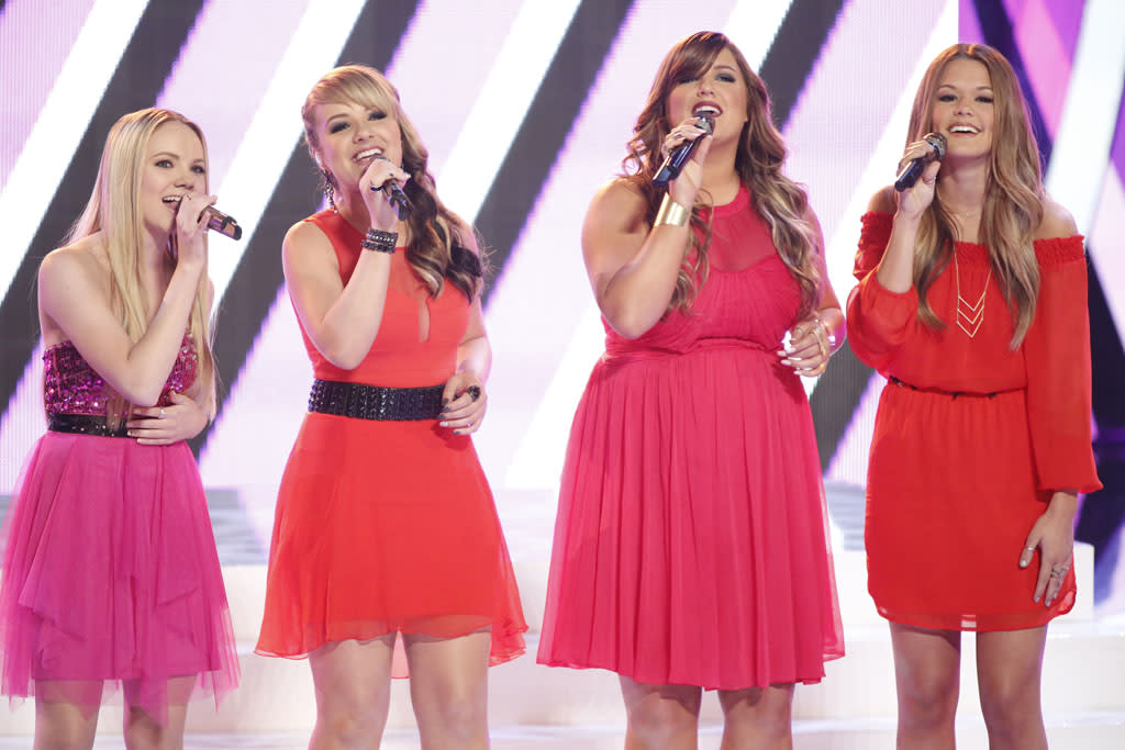 "Danielle Bradbery, Amber Carrington, Sarah Simmons, and Caroline Glaser perform ""All American Girl"" on the ""Live Finale"" episode of ""The Voice"" Season 4."