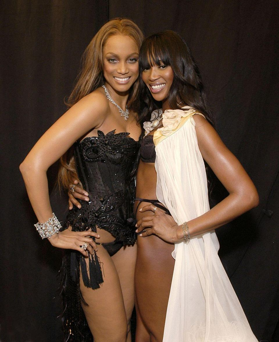 """<p>Supermodels Tyra Banks and Naomi Campbell had an intense feud back in the early '90s, with <a href=""""https://people.com/style/tyra-banks-naomi-campbell-feud-details/"""" rel=""""nofollow noopener"""" target=""""_blank"""" data-ylk=""""slk:Tyra revealing"""" class=""""link rapid-noclick-resp"""">Tyra revealing</a> that she did not feel welcomed by Naomi when she was a new girl coming into the modeling business. """"As much as I was booking every single fashion show, people didn't know I was going home at night crying my eyes out because a woman I was looking up to seemed like she just didn't want me to be there,"""" she said. """"And was doing everything in her power to make me go away.""""<br></p>"""